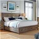 Kincaid Furniture Foundry King Rustic Panel Bed with Storage Footboard