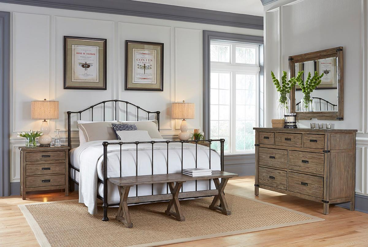 Kincaid furniture foundry rustic weathered gray bureau and - Nebraska furniture mart queen bedroom sets ...