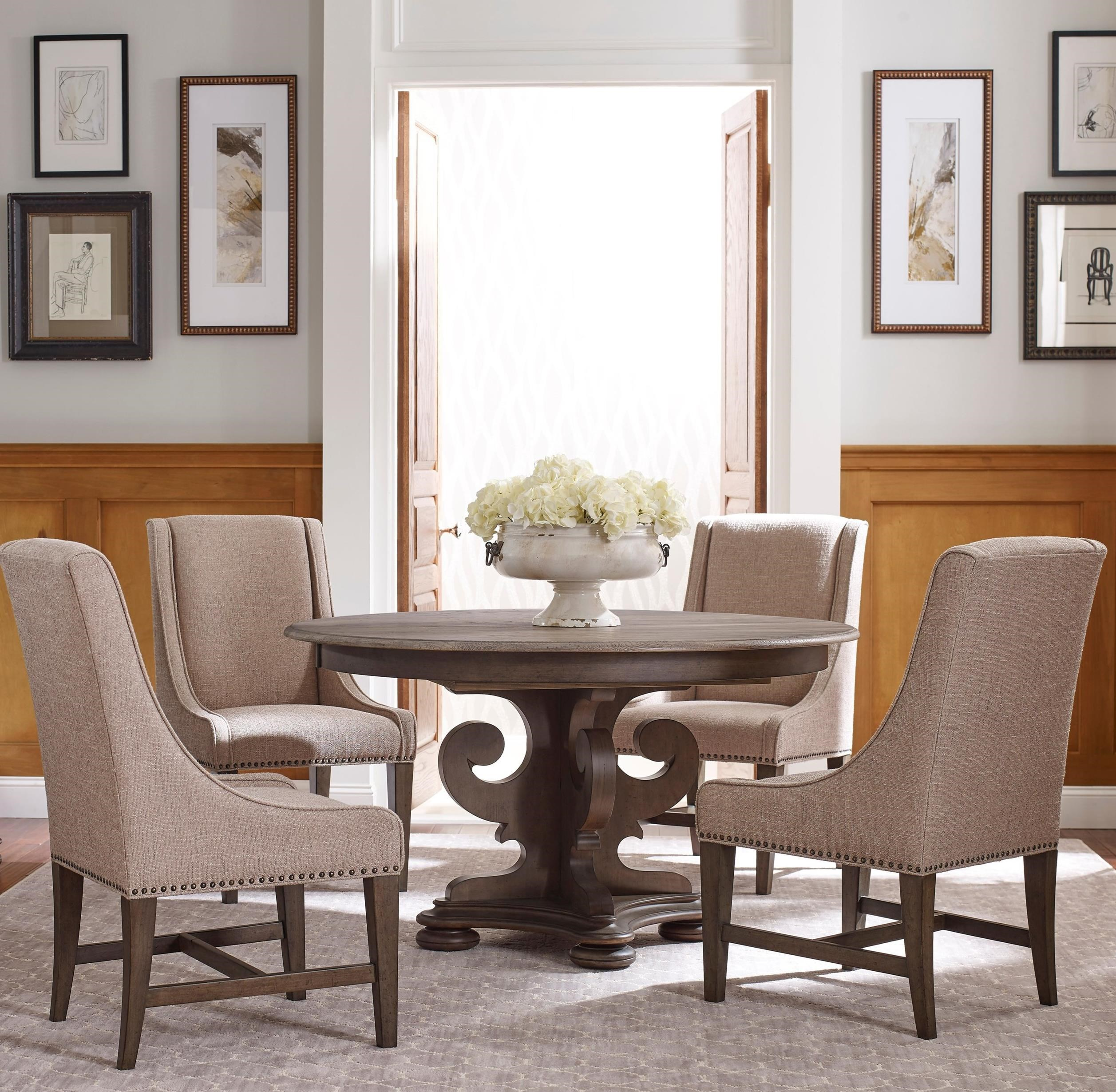 Kincaid Dining Room Set: Kincaid Furniture Greyson Five Piece Grant Round Table And Lawson Host Chairs Dining Set