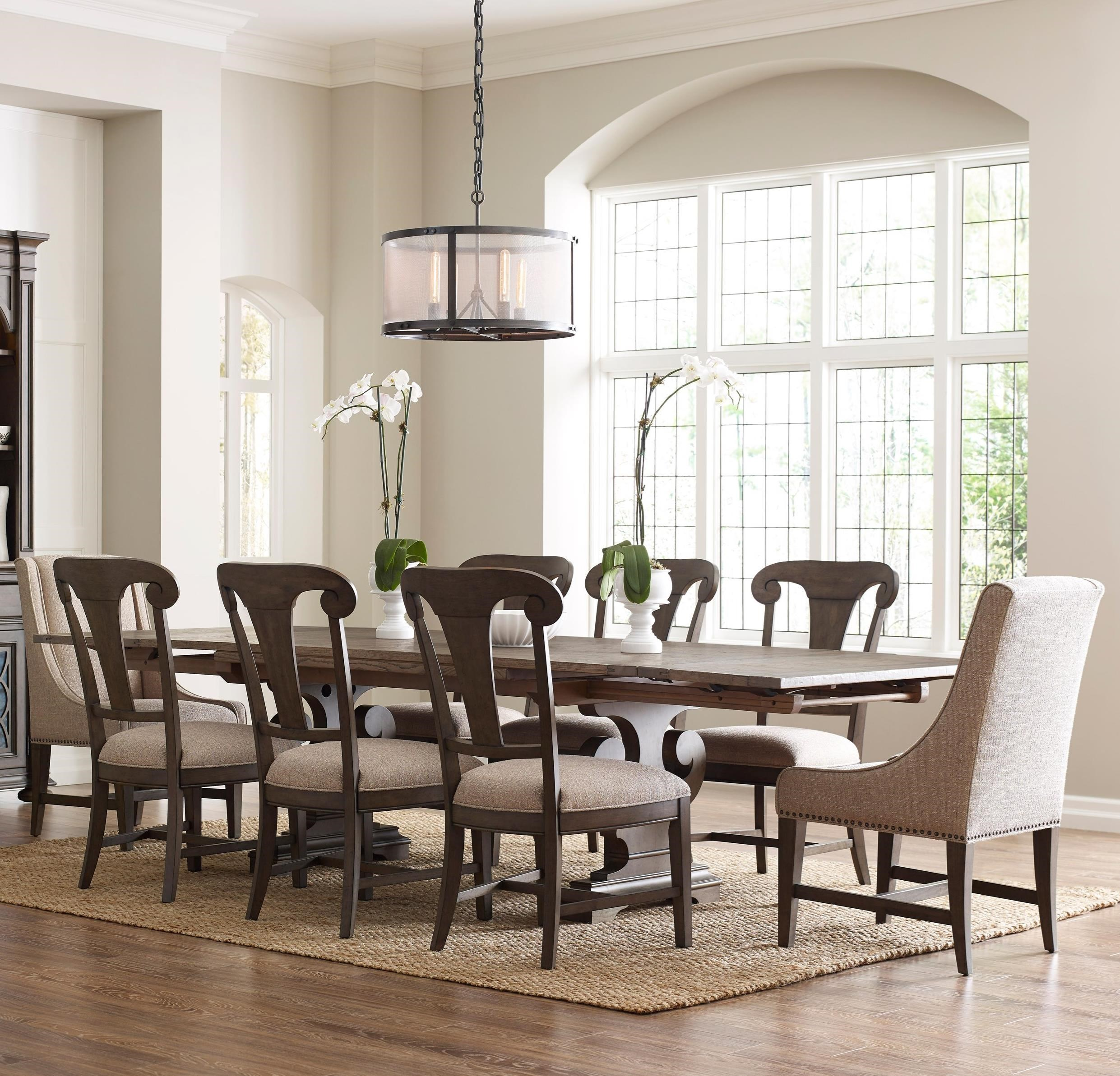 Kincaid Furniture Greyson Nine Piece Refectory Table Dining Set with ...