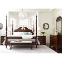 Kincaid Furniture Hadleigh California King Rice Carved Poster Bed with Pediment Headboard and Blanket Rail Footboard