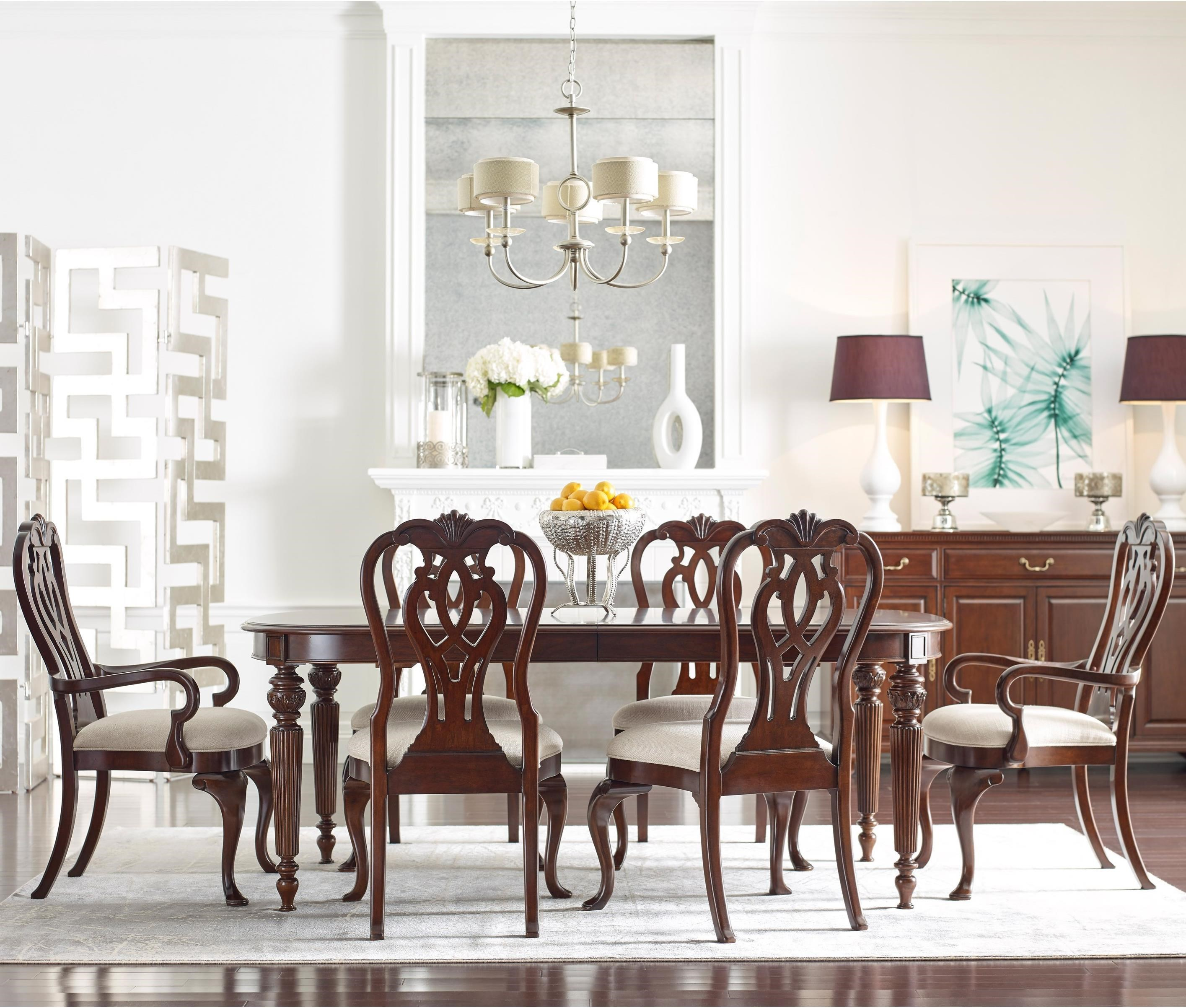 Kincaid Dining Room Set: Kincaid Furniture Hadleigh Seven Piece Formal Dining Set With Queen Anne Chairs