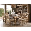 Kincaid Furniture Homecoming 7 Piece Dining Set with Farmhouse Leg Table and Ladderback Chairs - 33-056+2x062+4x061