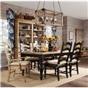 Kincaid Furniture Homecoming Ladderback Arm Chair - Shown with Farmhouse Leg Table in Black, Ladderback Side Chairs Black, and Buffet & Hutch