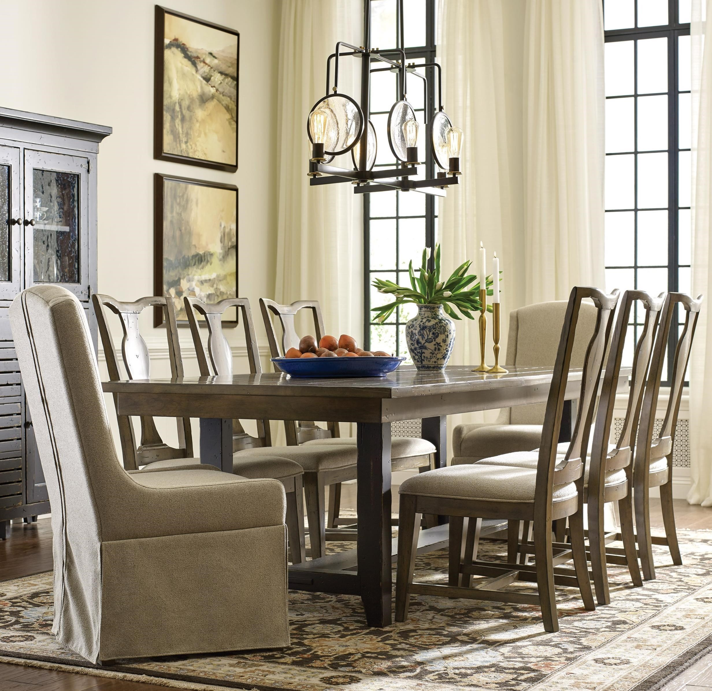 Mill House Dining Table and Chair Set for 8 by Kincaid Furniture at Johnny Janosik