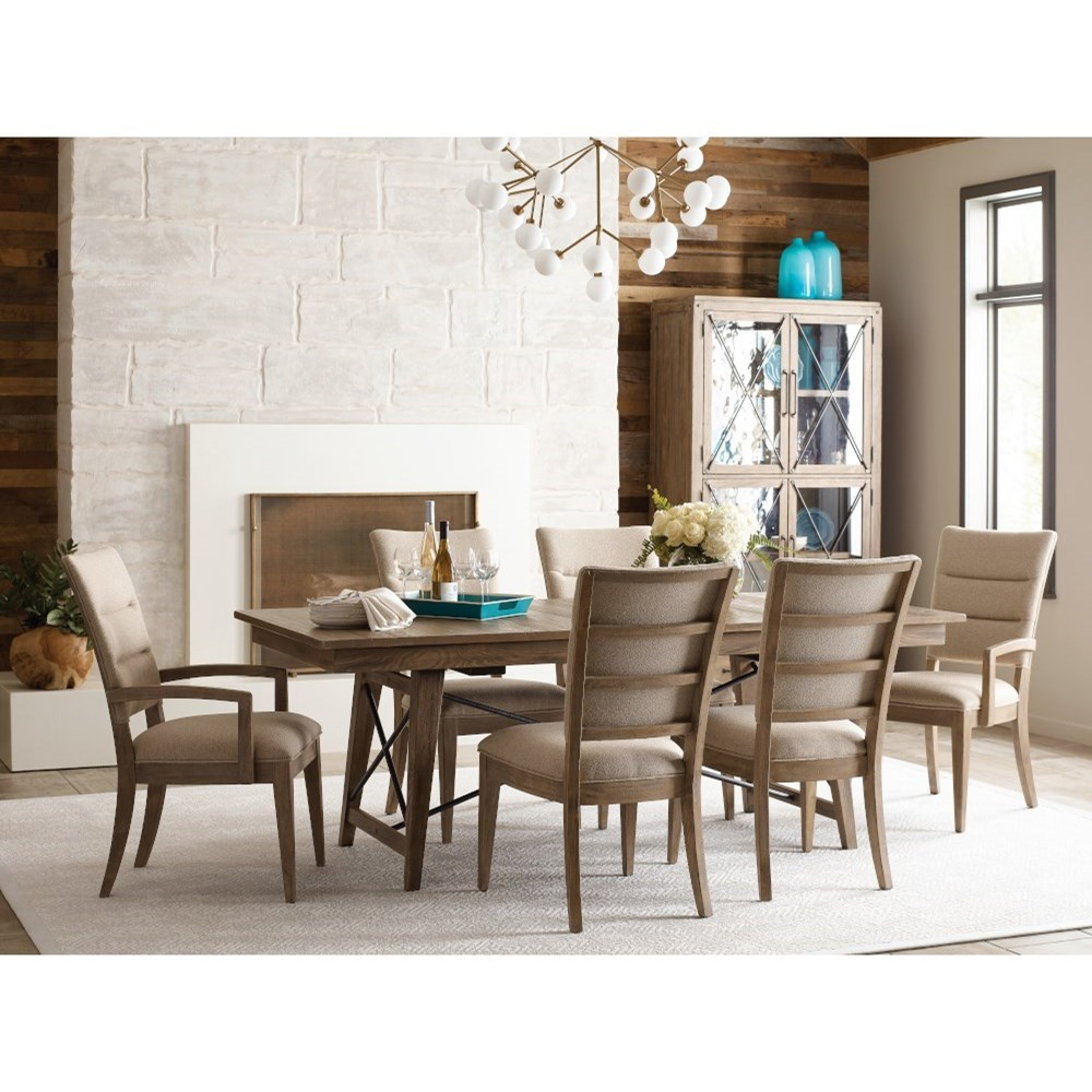 Modern Forge 7-Piece Dining Set with Upholstered Chairs at Stoney Creek Furniture