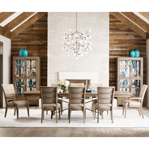 9-Piece Dining Set with Upholstered Chairs