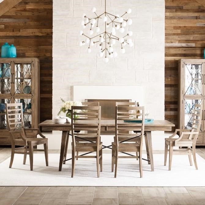 Modern Forge 7-Piece Dining Set with Ladderback Chairs at Stoney Creek Furniture