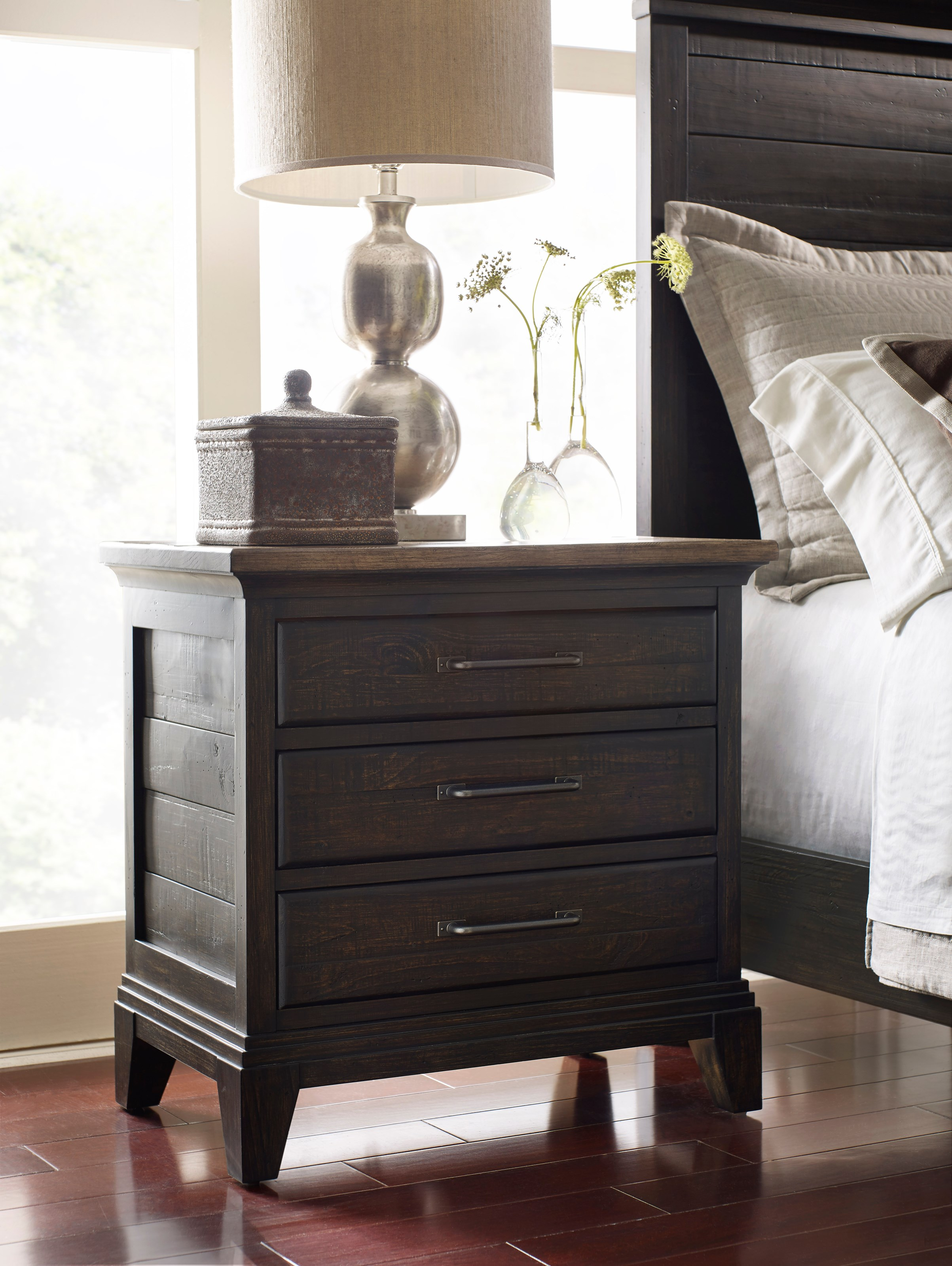 Kincaid Furniture Plank Road 706 420c Blair Three Drawer Nightstand With Night Light And