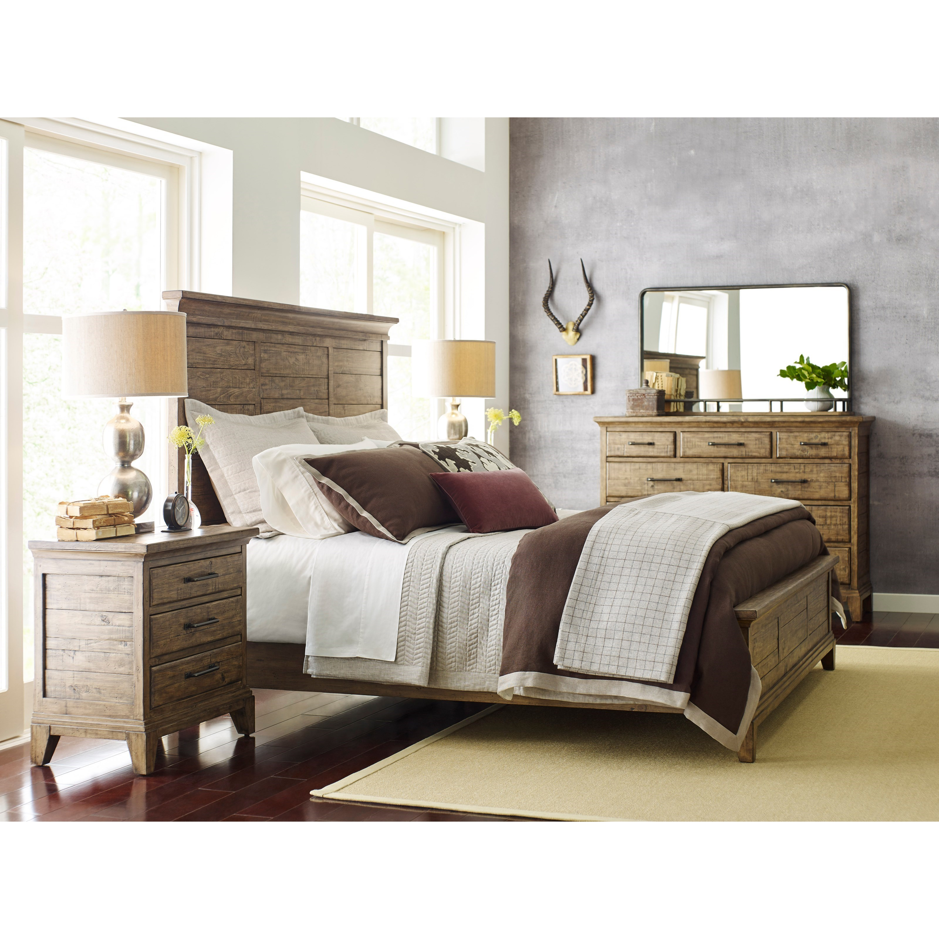 Kincaid Furniture Plank Road Blair Three Drawer Nightstand With Night Light And Electrical