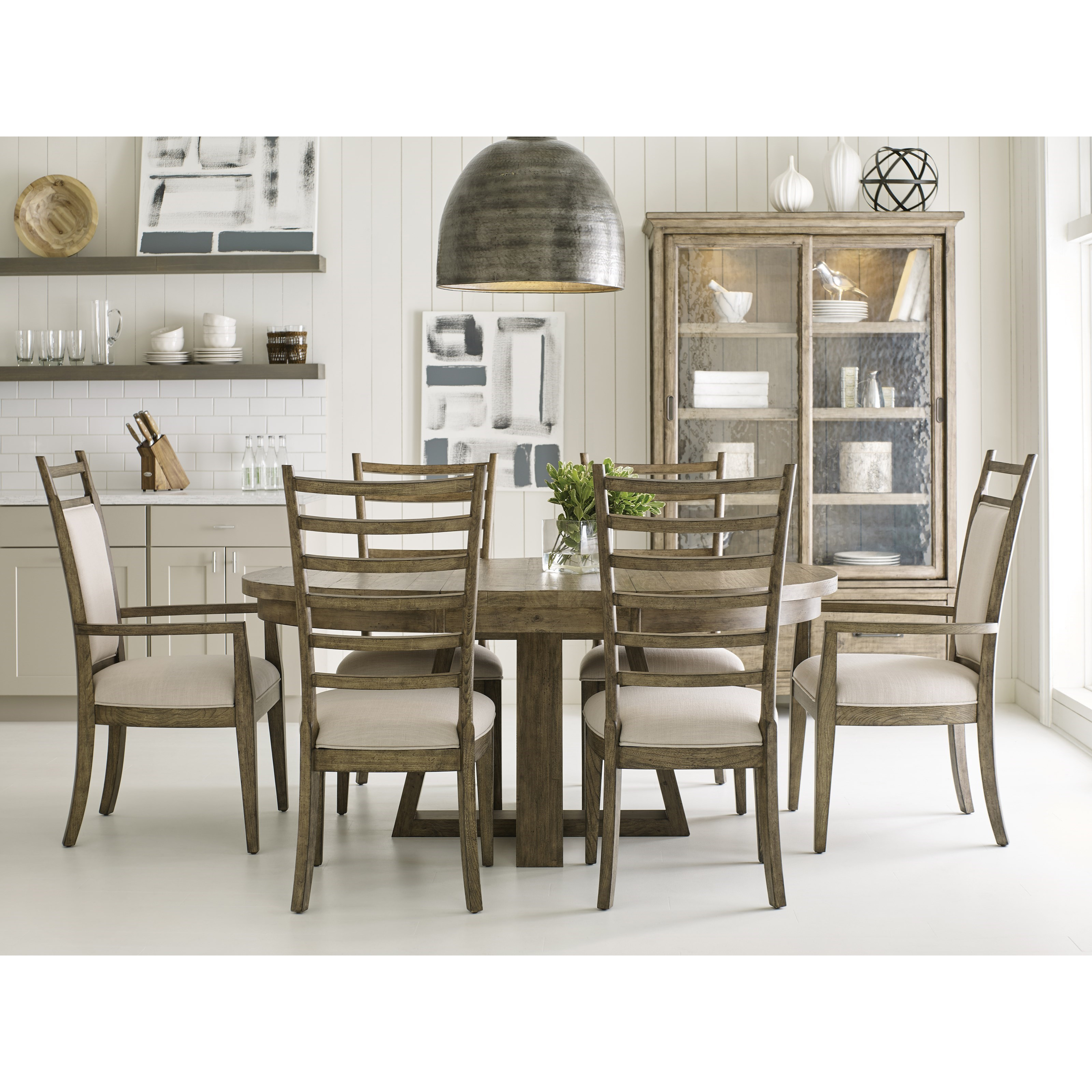 Kincaid Dining Room Set: Kincaid Furniture Plank Road Seven Piece Dining Set With Button Table And Oakley Chairs