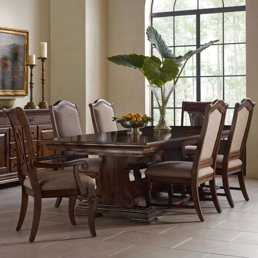 Kincaid Dining Room Set: Kincaid Furniture Portolone Seven Piece Trestle Table, Upholstered Side Chair, And Harp Back