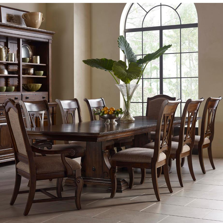 Kincaid Dining Room Set: Kincaid Furniture Portolone Nine Piece Trestle Table, Harp Back Chairs, And Upholstered Host