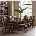 Kincaid Furniture Portolone Nine Piece Trestle Table, Harp Back Chairs, and Upholstered Host Chairs Set