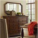 Kincaid Furniture Portolone Portolone Solid Wood Bureau with Marble Top and Mirror Set