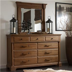 Kincaid Furniture Stone Ridge Drawer Dresser and Mirror Set