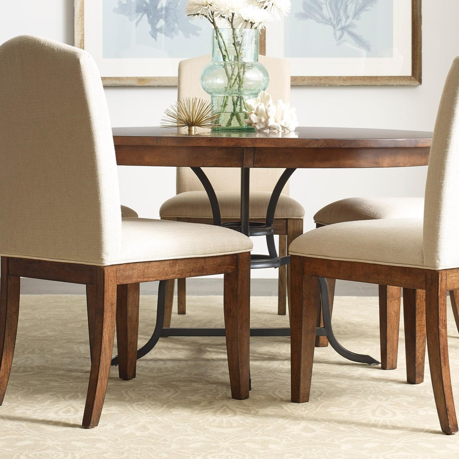 54 round dining table w metal base the nook