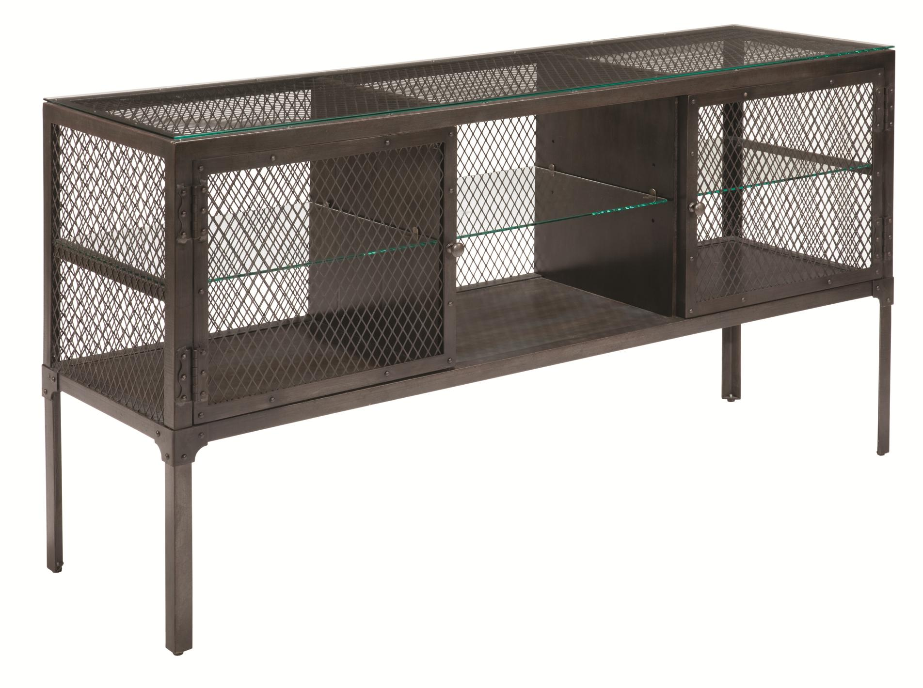 Treasures Express Industrial Sofa Table With Glass Shelves And Top By Kincaid Furniture
