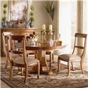 Morris Home Furnishings Tuscano 5 Pc. Round Pedestal Table with 4 Upholstered Side Chair Set