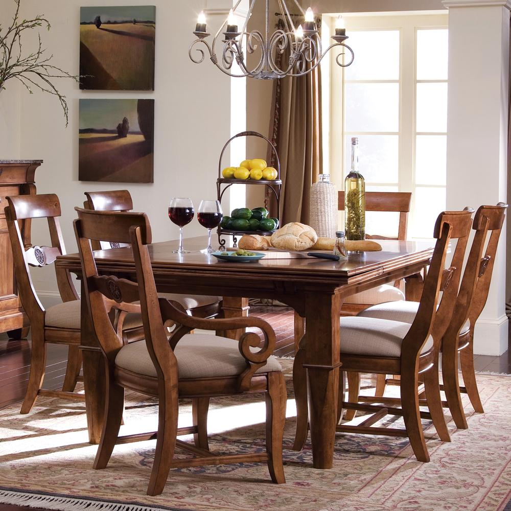 Tuscano 5 pc refectory leg table chair set by kincaid furniture wolf furniture - Pc dining room set ...