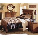 Kincaid Furniture Tuscano California King Panel Headboard & Footboard Bed - Shown with Dresser and Round Mirror, and Nightstand - Bed Shown May Not Represent Size Indicated