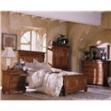 Kincaid Furniture Tuscano California King Panel Headboard & Footboard Bed - Shown with Nightstand, Armoire, and Dresser with Mirror - Bed Shown May Not Represent Size Indicated