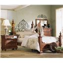 Morris Home Furnishings Tuscano Bedside Chest with Marble Top - Shown with Poster Bed, Dresser, and Landscape Mirror