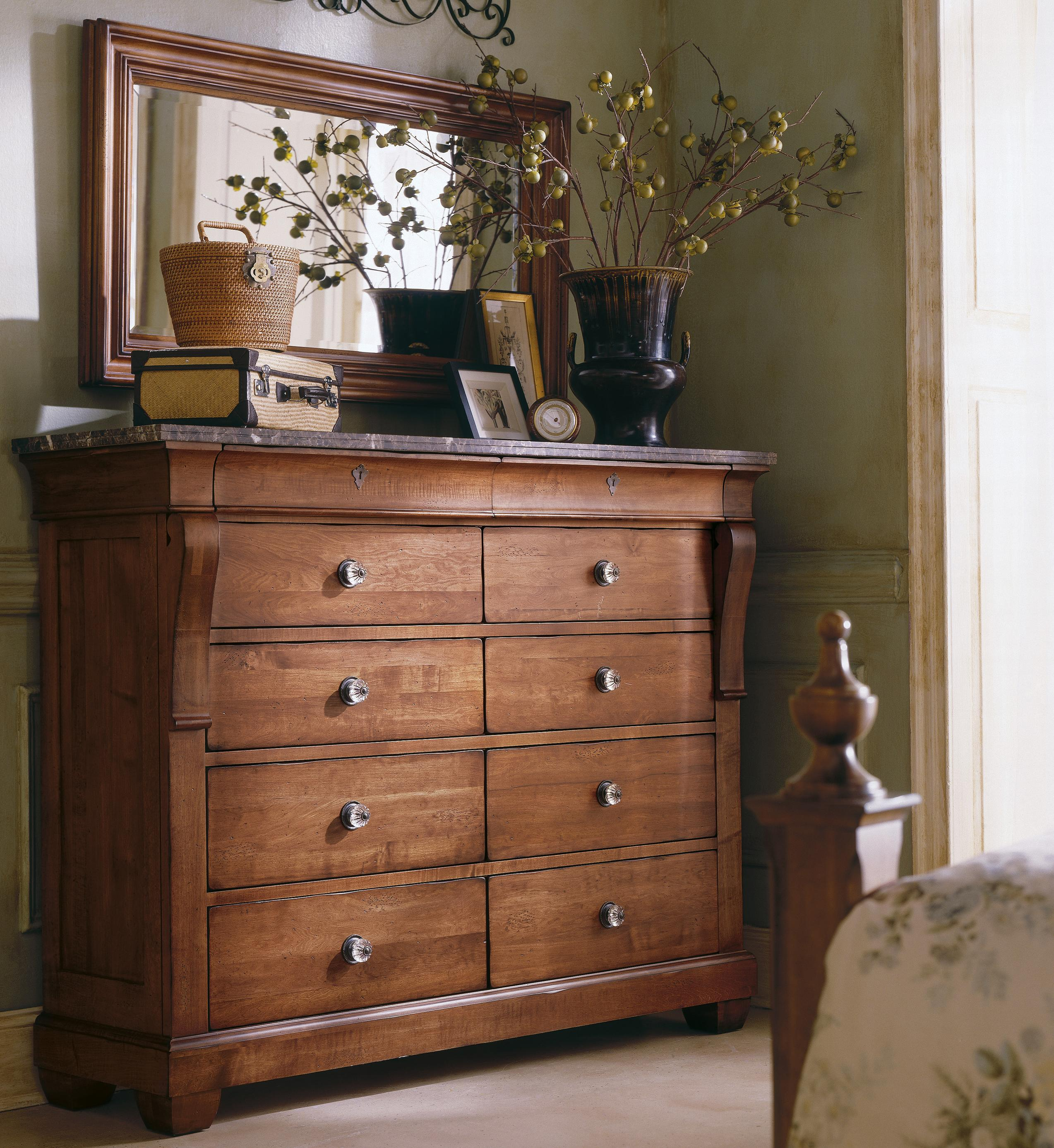 Kincaid Furniture Tuscano Marble Top Magna Chest U0026 Landscape Mirror   AHFA    Dresser U0026 Mirror Dealer Locator