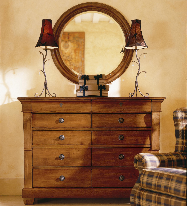 Kincaid Furniture Tuscano Drawer Dresser With Round Mirror - Kincaid tuscano bedroom furniture