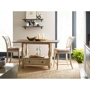 3-Piece Kitchen Island and Chair Set