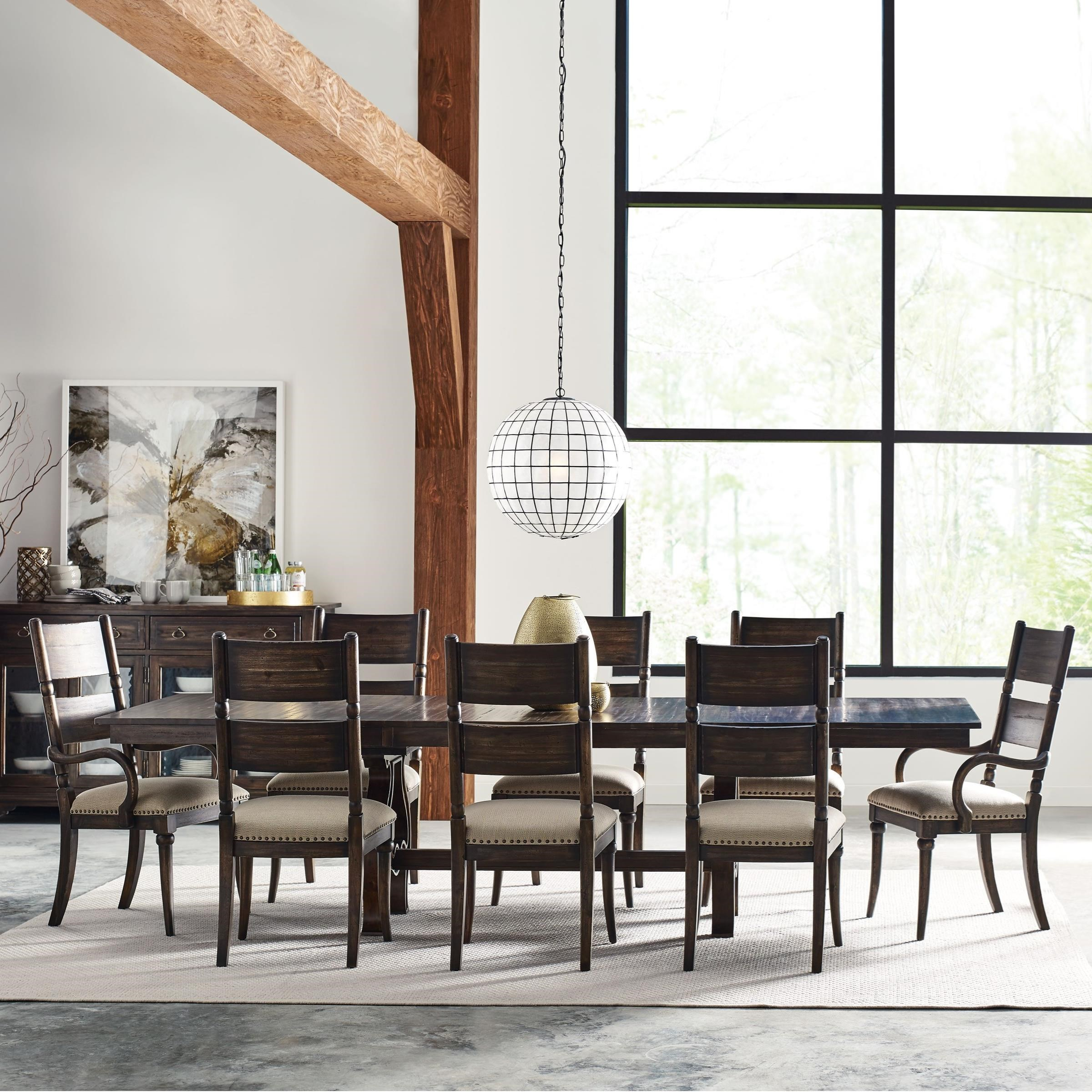 Kincaid Dining Room Set: Kincaid Furniture Wildfire Nine Piece Dining Set With Extendable Trestle Table And Post Chairs
