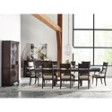 Kincaid Furniture Wildfire Nine Piece Dining Set with Extendable Trestle Table and Post Chairs