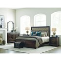 Kincaid Furniture Wildfire Queen Tweed Bed with Upholstered Headboard and Nilhead Trim
