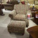 Morris Home Furnishings 4200 Rolled arm chair and ottoman with nail head trim