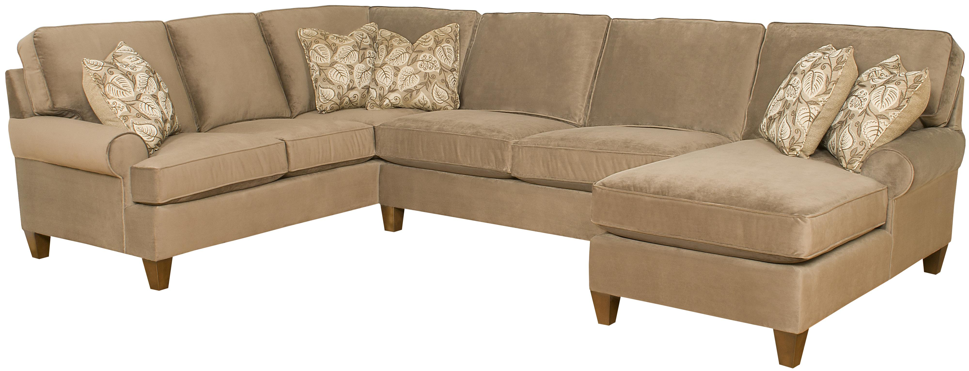 King Hickory Chatham Customizable 3 Piece Sectional Sofa With Sock Arms And Tapered Feet Story Lee Furniture Sofas