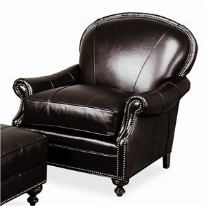 Morris Home Furnishings Accent Chairs and Ottomans Pinehurst Leather Upholstered Chair