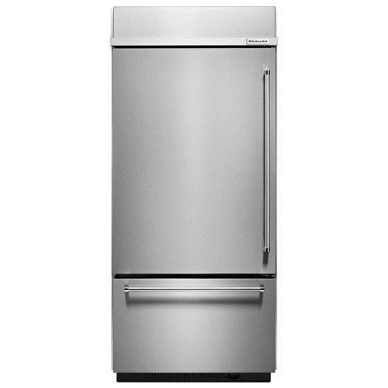 "KitchenAid Bottom Mount Refrigerators 20.9 Cu. Ft. 36"" Bottom Mount Refrigerator - Item Number: KBBL306ESS"