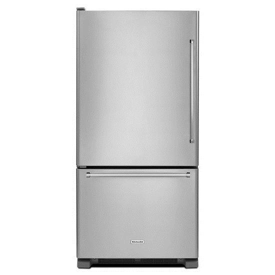 "KitchenAid Bottom Mount Refrigerators 33"" 22 cu. ft. Bottom Mount Refrigerator - Item Number: KRBL102ESS"