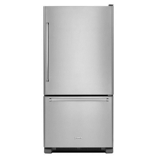KitchenAid Bottom Mount Refrigerators 19 cu. ft. 30-Inch Bottom Mount Refrigerator - Item Number: KRBR109ESS