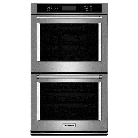 "KitchenAid Built-In Electric Double Ovens 27"" Electric Double Wall Oven - Item Number: KODE307ESS"