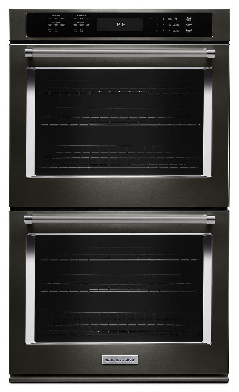 "KitchenAid Built-In Electric Double Ovens 30"" 5.0 Cu. Ft. Convection Double Wall Oven - Item Number: KODE500EBS"