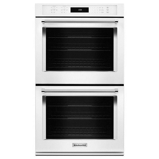"""KitchenAid Built-In Electric Double Ovens 30"""" 10 cu. ft. Double Wall Oven - Item Number: KODE500EWH"""