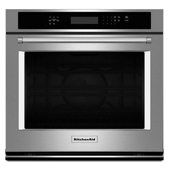 """KitchenAid Built-In Electric Single Oven 27"""" 4.3 cu. ft. Single Wall Oven - Item Number: KOSE507ESS"""