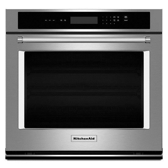 """KitchenAid Built-In Electric Single Oven 30"""" 5 cu. ft. Single Wall Oven - Item Number: KOST100ESS"""
