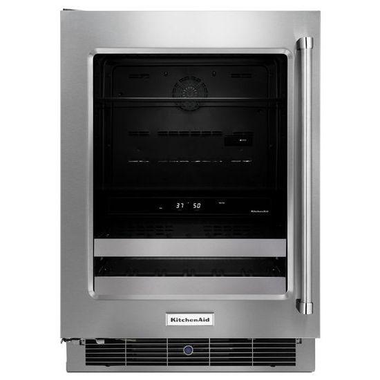 "KitchenAid Compact Refrigeration 24"" Stainless Steel Beverage Center - Item Number: KUBL304ESS"