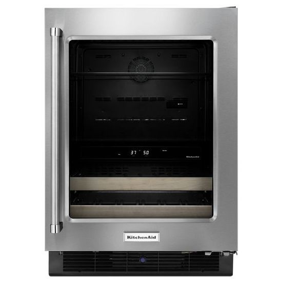"KitchenAid Compact Refrigeration 24"" Stainless Steel Beverage Center - Item Number: KUBR204ESB"