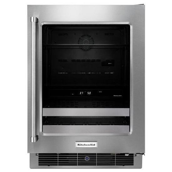 "KitchenAid Compact Refrigeration 24"" Stainless Steel Beverage Center - Item Number: KUBR304ESS"