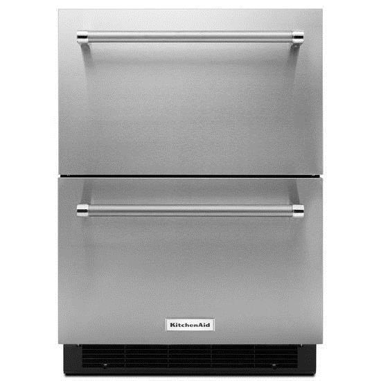 "KitchenAid Compact Refrigeration 24"" Double Refrigerator Drawer - Item Number: KUDR204ESB"