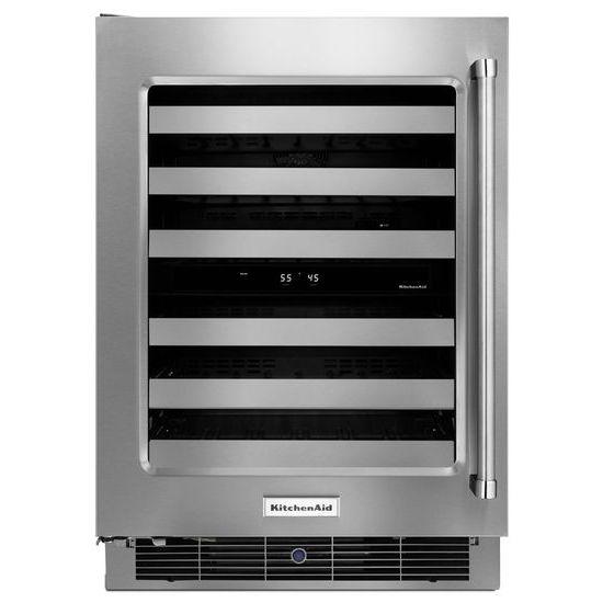 "KitchenAid Compact Refrigeration 24"" Wine Cellar - Item Number: KUWL304ESS"