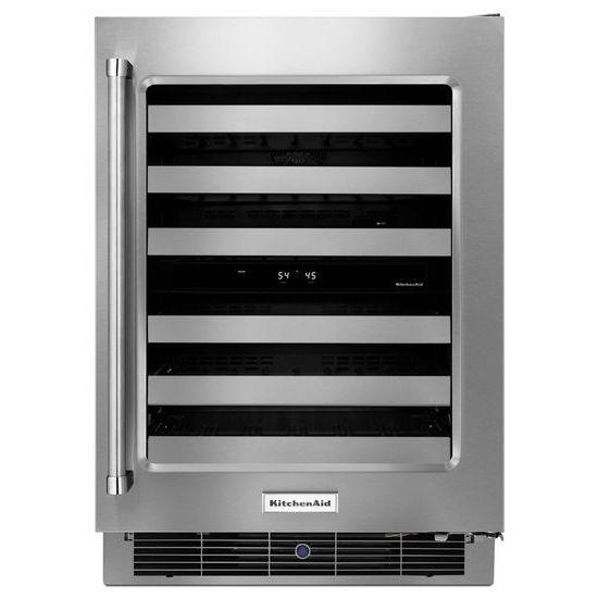 "KitchenAid Compact Refrigeration 24"" Stainless Steel Wine Cellar - Item Number: KUWR304ESS"